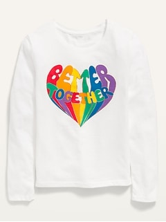 Long-Sleeve Graphic Crew-Neck Tee for Girls