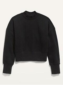 Oversized Mock-Neck Cropped Sweatshirt for Girls