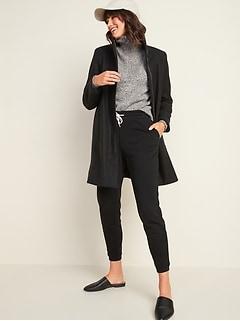 Manteau à col entonnoir au fini brossé soyeux pour femme