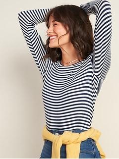 Cozy Plush-Knit Striped Long-Sleeve Tee for Women