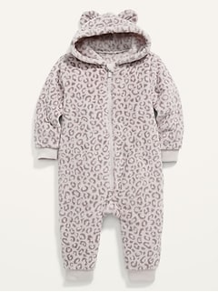 Leopard-Print Critter Sherpa One-Piece for Baby
