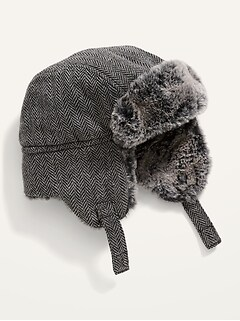 Faux-Fur-Lined Herringbone Trapper Hat for Baby