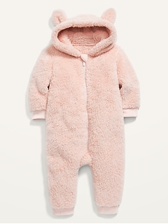 Pink Sherpa Critter One-Piece for Baby