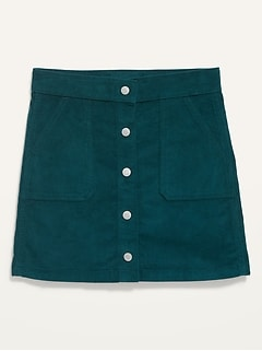 High-Waisted Button-Front Corduroy Skirt for Girls