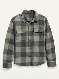 Built-In Flex Plaid Flannel Shirt for Boys