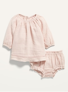 Long-Sleeve Textured Dobby Top & Bloomers Set for Baby