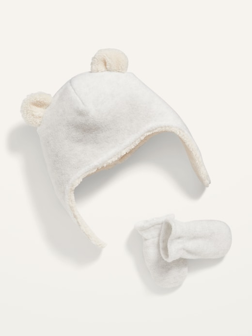 Unisex Micro Fleece Critter Hat and Mittens Set for Baby