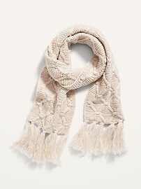 Fringed Sweater-Knit Scarf for Women