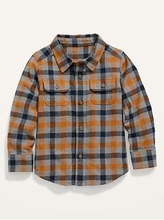 Chemise en flanelle à carreaux avec poche pour tout-petit garçon