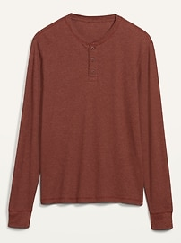 Soft-Washed Thermal-Knit Long-Sleeve Henley Tee for Men