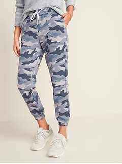 French Terry Cinched-Hem Jogger Pants for Women