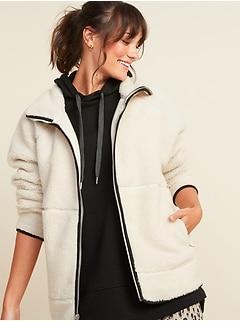 Veste longue en sherpa douillet avec fermeture à glissière à l'avant pour femme