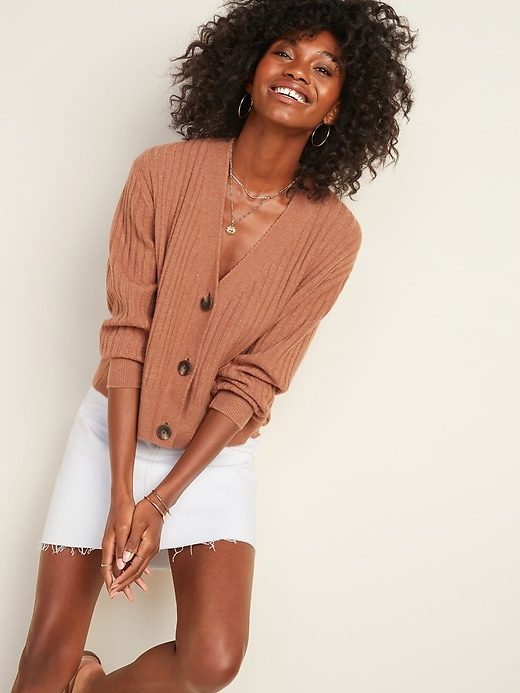 Slouchy Rib-Knit Button-Front Cardigan Sweater for Women