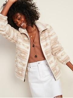 Veste en sherpa douillet avec glissière à l'avant pour femme