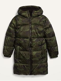 Frost-Free Camo Long Hooded Puffer Jacket for Boys