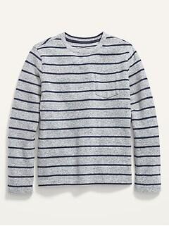 Striped Plush-Knit Pocket Tee for Boys
