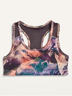 Go-Dry Printed Racerback Sports Bra for Girls