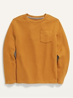 Cozy Brushed-Knit Pocket Tee for Boys