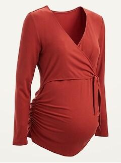 Maternity Rib-Knit Tie-Front V-Neck Top