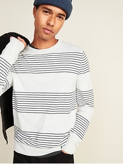 Repeating Pinstripe Crew-Neck Sweater for Men
