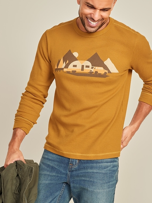 Soft-Washed Thermal-Knit Graphic Long-Sleeve Tee for Men