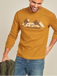 T-shirt en tricot isotherme à imprimé à manches longues au fini soyeux pour homme