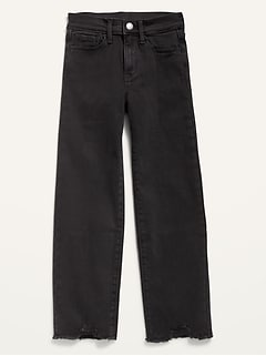 High-Waisted Built-In Tough Frayed-Hem Straight Black Jeans