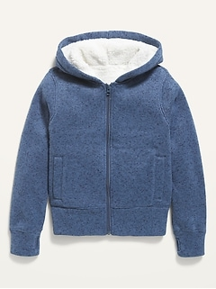 Sherpa-Lined Sweater-Knit Zip Hoodie for Girls