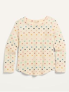 T-shirt isotherme à imprimé avec encolure échancrée pour toute-petite fille