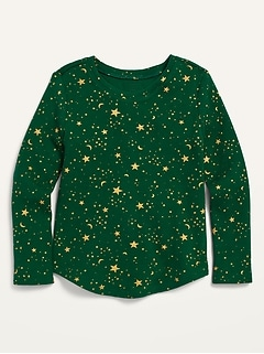 Printed Thermal Scoop-Neck Tee for Toddler Girls