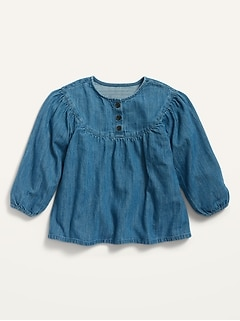 Chambray Babydoll Tunic for Toddler Girls