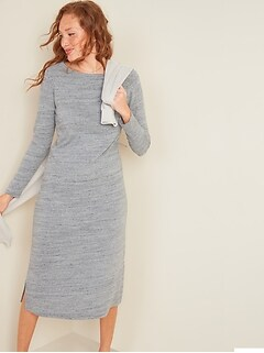 Sweater-Knit Jersey Long-Sleeve T-Shirt Shift Dress