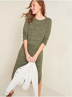 Sweater-Knit Jersey Long-Sleeve T-Shirt Shift Dress