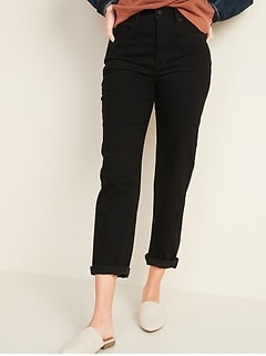 Extra High-Waisted Sky-Hi Straight Black Jeans for Women