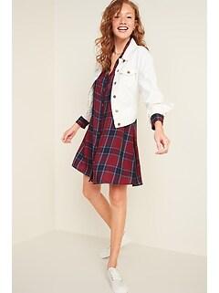 Plaid Lightweight Flannel Swing Shirt Dress for Women