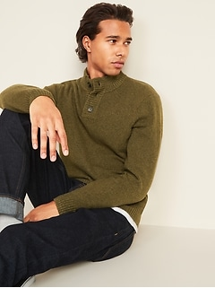 Mock-Neck Three-Button Sweater for Men