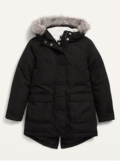 Faur-Fur-Trim Frost-Free Long Jacket for Girls