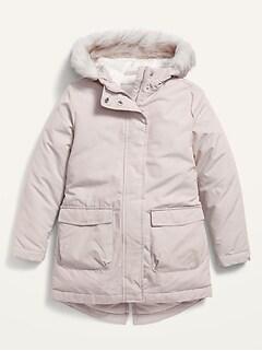 Faur-Fur-Trim Frost-Free Long Jacket for Girls