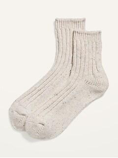 Marled Rib-Knit Quarter Crew Socks for Women