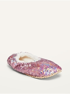 Sherpa-Lined Sequin Slippers for Girls