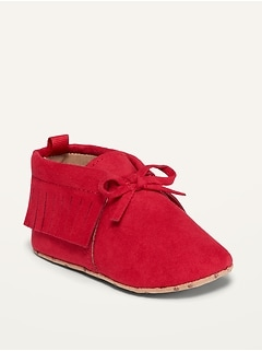 Unisex Faux-Suede Moccasin Booties for Baby