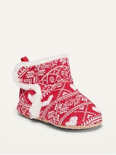 Unisex Fair Isle Booties for Baby