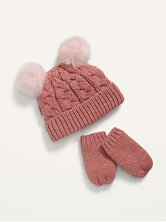 Cable-Knit Pom-Pom Beanie and Mittens Set for Toddler Girls