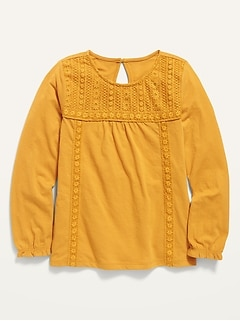 Long-Sleeve Lace-Yoke Jersey Top for Girls