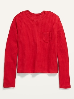 Cozy Thermal-Knit Chest-Pocket Long-Sleeve Lounge Top for Women