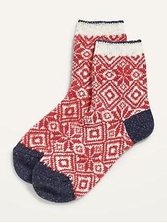Fair Isle Quarter Crew Socks for Women