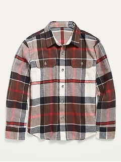 Built-In Flex Plaid Flannel Shirt for Boys