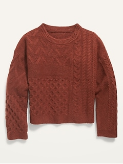 Cable-Knit Crew-Neck Sweater for Girls