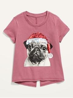 T-shirt à dos fendu à imprimé pour fille