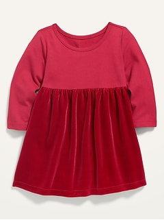 Long-Sleeve Mixed-Fabric Shirred Dress for Baby